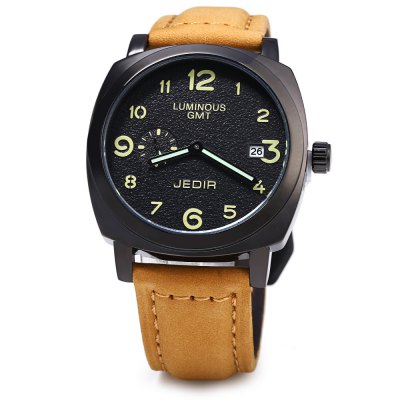 JEDIR 1046 Genuine Leather Band Men Quartz WatchMens Watches<br>JEDIR 1046 Genuine Leather Band Men Quartz Watch<br><br>Brand: JEDIR<br>Watches categories: Male table<br>Watch style: Business<br>Watch color: White + Brown, Brown + Golden, Brown, Coffee, Coffee + Black<br>Movement type: Quartz watch<br>Display type: Analog<br>Case material: Alloy<br>Band material: Genuine Leather<br>Clasp type: Pin buckle<br>Special features: Date,Moving small one stitch<br>The dial thickness: 1.0 cm / 0.39 inches<br>The dial diameter: 4.2 cm / 1.65 inches<br>The band width: 2.0 cm / 0.79 inches<br>Wearable length: 17 - 21 cm / 6.69 - 8.27 inches<br>Product weight: 0.065 kg<br>Package weight: 0.095 kg<br>Product size (L x W x H): 25.000 x 4.200 x 1.000 cm / 9.843 x 1.654 x 0.394 inches<br>Package size (L x W x H): 26.000 x 5.200 x 2.000 cm / 10.236 x 2.047 x 0.787 inches<br>Package Contents: 1 x JEDIR 1046 Watch