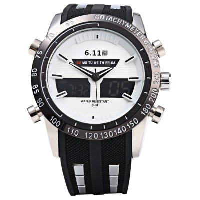 6.11 8150 Water Resistant Dual Movt Male LED Sports WatchSports Watches<br>6.11 8150 Water Resistant Dual Movt Male LED Sports Watch<br><br>Brand: 6.11<br>People: Male table<br>Watch style: Outdoor Sports,LED<br>Watch color: Black, Red, Blue, White, Silver and Black, Silver and Blue, Silver and Red, Silver<br>Shape of the dial: Round<br>Movement type: Double-movtz<br>Display type: Analog-Digital<br>Hour formats: 12/24 Hour<br>Case material: Stainless Steel<br>Band material: Rubber<br>Clasp type: Pin buckle<br>Special features: EL Back-light,Day,Date,Stopwatch,Alarm Clock<br>Water resistance : 30 meters<br>The dial thickness: 1.5 cm / 0.59 inches<br>The dial diameter: 4.7 cm / 1.85 inches<br>The band width: 2.2 cm / 0.9 inches<br>Wearable length: 15.5 - 2 cm / 6.1 - 8.27 inches<br>Product weight: 0.116 kg<br>Package weight: 0.146 kg<br>Product size (L x W x H): 25.000 x 4.700 x 1.500 cm / 9.843 x 1.850 x 0.591 inches<br>Package size (L x W x H): 26.000 x 5.700 x 2.500 cm / 10.236 x 2.244 x 0.984 inches<br>Package Contents: 1 x 6.11 8150 Watch
