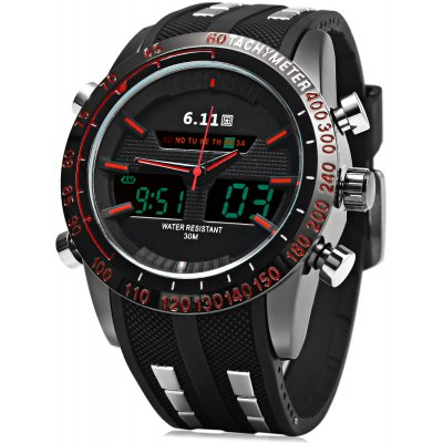 6.11 8150 Water Resistant Dual Movt Male LED Sports Watch