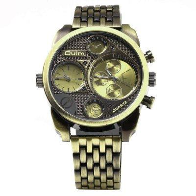 Oulm Stylish Waterproof Men Watch Analog with Double - movt Round Dial Steel Watch BandMens Watches<br>Oulm Stylish Waterproof Men Watch Analog with Double - movt Round Dial Steel Watch Band<br><br>Brand: Oulm<br>Watches categories: Male table<br>Watch style: Fashion<br>Movement type: Quartz watch<br>Shape of the dial: Round<br>Display type: Analog<br>Case material: Stainless Steel<br>Band material: Stainless Steel<br>Clasp type: Buckle<br>Special features: Decorating small three stitches<br>Water resistance : 30 meters<br>The dial thickness: 1.5 cm / 0.6 inch<br>The dial diameter: 5.0 cm / 2.0 inch<br>Product weight: 0.116KG<br>Package weight: 0.151 KG<br>Product size (L x W x H): 24.000 x 5.000 x 1.500 cm / 9.449 x 1.969 x 0.591 inches<br>Package size (L x W x H): 25.000 x 6.000 x 2.500 cm / 9.843 x 2.362 x 0.984 inches<br>Package Contents: 1 x Watch