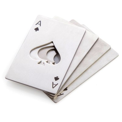 Spades Ace Shape Bottle OpenerOpeners<br>Spades Ace Shape Bottle Opener<br><br>For: All<br>Functions: Multi-functions<br>Material: Stainless Steel<br>Occasion: Office, Outdoor, Living Room, KTV, Kitchen Room, Home, Dining Room, Car, Bar, School<br>Package Contents: 1 x Bottle Opener<br>Package size (L x W x H): 9.00 x 6.00 x 2.00 cm / 3.54 x 2.36 x 0.79 inches<br>Package weight: 0.0800 kg<br>Product size (L x W x H): 8.50 x 5.40 x 1.50 cm / 3.35 x 2.13 x 0.59 inches<br>Product weight: 0.0500 kg<br>Type: Practical, Comfortable