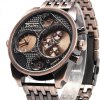 Oulm Stylish Waterproof Men Watch Analog with Double - movt Round Dial Steel Watch Band deal