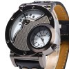 Oulm Men's Quartz Cool Military Wrist Watch Dual Movt Round Shaped Leather Band deal