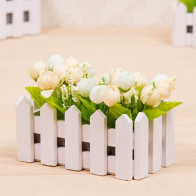 Wooden Fence Simulation Plant Potted