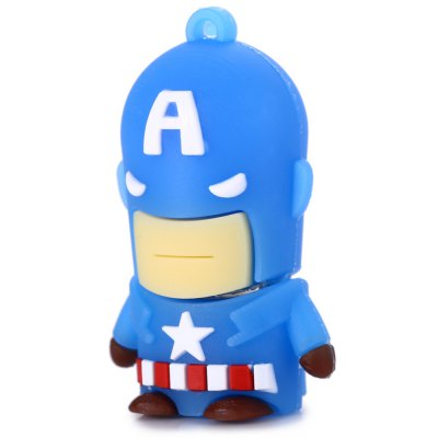 16GB Captain America USB 2.0 Stick / Flash Memory DriveUSB Flash Drives<br>16GB Captain America USB 2.0 Stick / Flash Memory Drive<br><br>Available Color: Blue<br>Capacity: 16G<br>Features: Cartoon, Dustproof<br>Interface: USB 2.0<br>Package Contents: 1 x 16GB Captain America USB 2.0 Stick<br>Package size (L x W x H): 5.500 x 3.800 x 2.800 cm / 2.165 x 1.496 x 1.102 inches<br>Package weight: 0.052 kg<br>Product size (L x W x H): 4.500 x 2.800 x 1.800 cm / 1.772 x 1.102 x 0.709 inches<br>Product weight: 0.012 kg<br>Style: Cartoon<br>Type: USB Stick