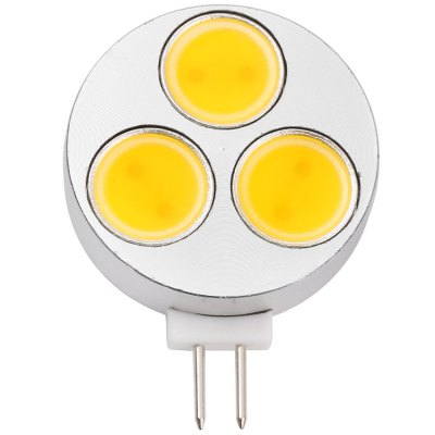3PCS SZFC G4 3cm 4.5W 450LM COB Flat LED BulbLED Bi-pin Lights<br>3PCS SZFC G4 3cm 4.5W 450LM COB Flat LED Bulb<br><br>Available Light Color: White,Warm White<br>Brand: SZFC<br>CCT/Wavelength: 3000K,6000K<br>Emitter Types: COB<br>Features: 80% Brightness, Long Life Expectancy, Energy Saving<br>Function: Studio and Exhibition Lighting, Commercial Lighting, Home Lighting<br>Holder: G4<br>Luminous Flux: 450LM<br>Output Power: 4.5W<br>Package Contents: 3 x SZFC G4 LED Bulb<br>Package size (L x W x H): 4.000 x 5.000 x 2.400 cm / 1.575 x 1.969 x 0.945 inches<br>Package weight: 0.065 kg<br>Product size (L x W x H): 3.000 x 4.000 x 0.800 cm / 1.181 x 1.575 x 0.315 inches<br>Product weight: 0.017 kg<br>Sheathing Material: Aluminum<br>Total Emitters: 3<br>Type: Corn Bulbs<br>Voltage (V): DC / AC 12