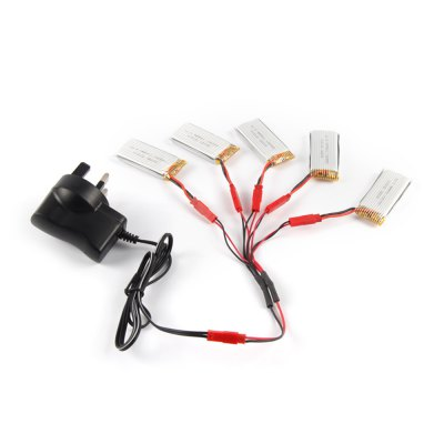 5 x 3.7V 700mAh Battery + Charger / JST Cable Set Fitting for JJRC H12W MJX X600 X400 LiDi RC L6F L6W RC Model