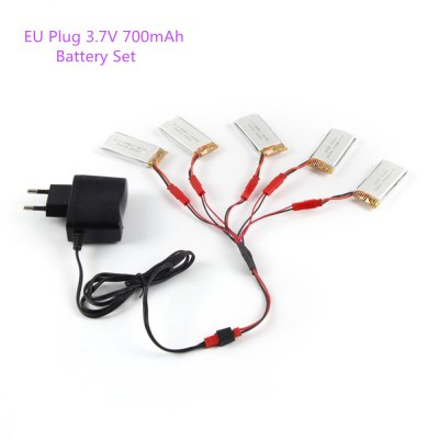 Battery Charging Set 5 x 3.7V 700mAh Lipo + Charger / JST Cable