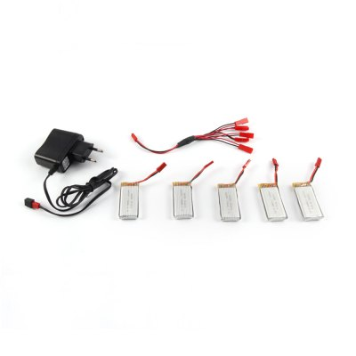 5 x 3.7V 700mAh Battery + Charger / JST Cable Set Fitting for JJRC H12W MJX X600 X400 LiDi RC L6F L6W X601H RC Model