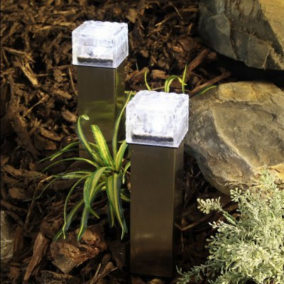 Solar Power Ice Brick Shape Crystal LED Light