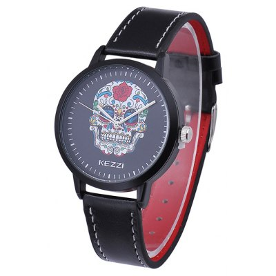 KEZZI BSL887 Skull Style Male Quartz Watch PU Band