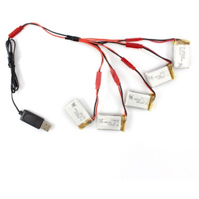 5 x 3.7V 750mAh Battery + Cable Set for MJX X800 X300