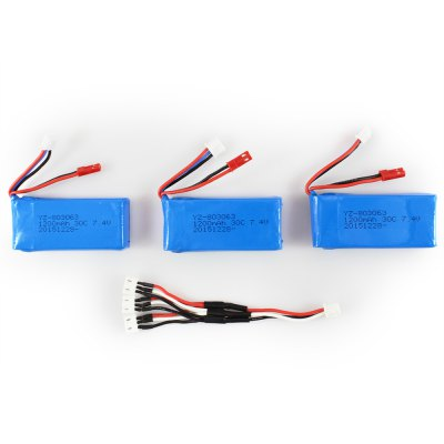 3 x 7.4v 1200mah battery usb cable set for rc model...