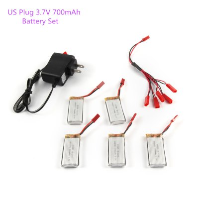 5 x 3.7V 700mAh Battery + Charger / JST Cable Set Fitting for RC Model