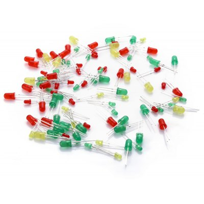 3mm + 5mm Red Yellow Green LED Light Diode Set - 100 PCS