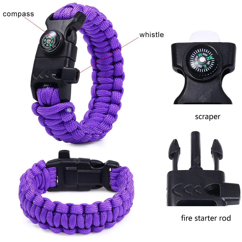 5 Functions in 1 Outdoor Survival Paracord Bracelet thumbnail