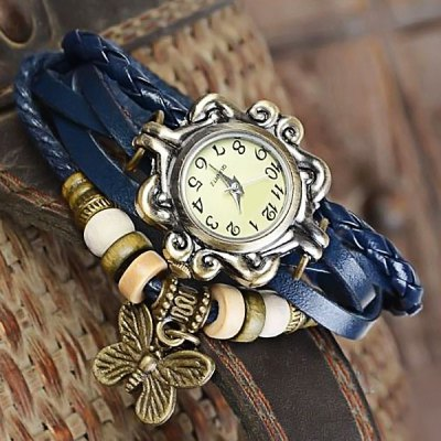 Vintage Style Watch with Butterfly Pendant and Knitting Leather Watch BandWomens Watches<br>Vintage Style Watch with Butterfly Pendant and Knitting Leather Watch Band<br><br>Watches categories: Female table<br>Available color: Green,Purple,Brown,Orange<br>Style: Fashion&amp;Casual<br>Movement type: Quartz watch<br>Shape of the dial: Round<br>Case material: Stainless Steel<br>Case color: Gold<br>Band material: Leather<br>The dial thickness: 1 cm / 0.4 inches<br>The dial diameter: 2.5 cm / 1.0 inches<br>Product weight: 0.020 kg<br>Package weight: 0.075 kg<br>Product size (L x W x H): 21.00 x 2.50 x 1.00 cm / 8.27 x 0.98 x 0.39 inches<br>Package size (L x W x H): 21.10 x 2.30 x 1.50 cm / 8.31 x 0.91 x 0.59 inches<br>Package Contents: 1 x Watch