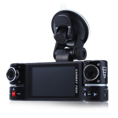 F600 2.7 inch Dual Lens Car DVR Camera Video RecorderCar DVR<br>F600 2.7 inch Dual Lens Car DVR Camera Video Recorder<br><br>Type: Dual Lens Dashboard Camera,HD Car DVR Recorder<br>Max External Card Supported: TF 32G (not included)<br>Class Rating Requirements: Class 4 or Above<br>Screen size: 2.7inch<br>Screen type: TFT<br>Battery Type: Built-in<br>Charge way: Car charger<br>Wide Angle: 120 degree wide angle<br>Video format: AVI<br>Video Resolution: 1280 x 480<br>Video Output : AV-Out,HDMI<br>Image Format : JPEG<br>Audio System: Built-in microphone/speacker (AAC)<br>Motion Detection: Yes<br>Night vision : Yes<br>GPS: Yes<br>Interface Type: AV-Out,HDMI,Mini USB,TF Card Slot<br>Product weight: 0.094 kg<br>Package weight: 0.410 kg<br>Product size (L x W x H): 13.00 x 4.50 x 3.00 cm / 5.12 x 1.77 x 1.18 inches<br>Package size (L x W x H): 21.00 x 16.50 x 7.50 cm / 8.27 x 6.50 x 2.95 inches<br>Package Contents: 1 x F600 2.7 inch HD Dual Lens Car DVR Camera Video Recorder, 1 x Car Charger (3m Cable Length), 1 x Mounting Holder, 1 x Trilingual User Manual in Russian English and Chinese
