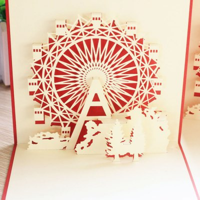 Cute 3D Paper Hollow Out Christmas Postcards