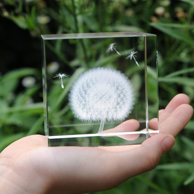 Creative Crystal Cube Dandelion Decoration