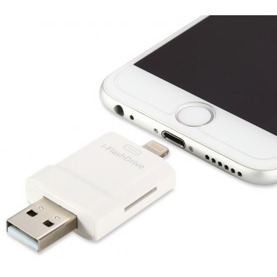 Multi-functional 2 in 1 i-Flash Drive TF Card Reader