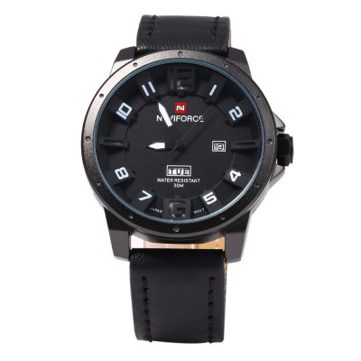 Naviforce 9061 Day Date Display Men Quartz WatchMens Watches<br>Naviforce 9061 Day Date Display Men Quartz Watch<br><br>Available Color: Red,Brown,Gold,Black<br>Band material: Leather<br>Brand: Naviforce<br>Case material: Stainless Steel<br>Clasp type: Pin buckle<br>Display type: Analog<br>Movement type: Quartz watch<br>Package Contents: 1 x Naviforce 9061 Watch<br>Package size (L x W x H): 28.000 x 5.500 x 2.000 cm / 11.024 x 2.165 x 0.787 inches<br>Package weight: 0.107 kg<br>Product size (L x W x H): 27.000 x 4.500 x 1.000 cm / 10.630 x 1.772 x 0.394 inches<br>Product weight: 0.077 kg<br>Shape of the dial: Round<br>Special features: Day, Date<br>The band width: 2.2 cm / 0.87 inches<br>The dial diameter: 4.5 cm / 1.77 inches<br>The dial thickness: 1.0 cm / 0.39 inches<br>Watch style: Fashion<br>Watches categories: Male table<br>Wearable length: 17.5 - 22 cm / 6.89 - 8.66 inches