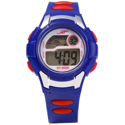 NT 6009 Multifunctional Digital Sports Kids Wrist WatchKids Watches<br>NT 6009 Multifunctional Digital Sports Kids Wrist Watch<br><br>Watches categories: Children watch<br>Watch style: LED<br>Movement type: Digital watch<br>Shape of the dial: Round<br>Display type: Digital<br>Case material: PC<br>Band material: Rubber<br>Clasp type: Pin buckle<br>Special features: Day,Date,Alarm Clock<br>The dial thickness: 1.2 cm / 0.47 inches<br>The dial diameter: 3.1 cm / 1.22 inches<br>The band width: 1.5 cm / 0.59 inches<br>Wearable length: 13.5 - 19 cm / 5.31 - 7.48 inches<br>Product weight: 0.025 kg<br>Package weight: 0.055 kg<br>Product size (L x W x H): 21.500 x 3.100 x 1.200 cm / 8.465 x 1.220 x 0.472 inches<br>Package size (L x W x H): 22.500 x 4.100 x 2.200 cm / 8.858 x 1.614 x 0.866 inches<br>Package Contents: 1 x  Sports Kids Watch