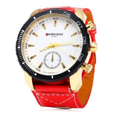 Shiweibao A1447 Decorative sub-dial Quartz Male WatchMens Watches<br>Shiweibao A1447 Decorative sub-dial Quartz Male Watch<br><br>Brand: Shiweibao<br>Watches categories: Male table<br>Watch style: Casual,Fashion<br>Available color: White and Black,Red,Black,White<br>Movement type: Quartz watch<br>Shape of the dial: Round<br>Display type: Analog<br>Case material: Alloy<br>Band material: Leather<br>Clasp type: Pin buckle<br>Special features: Decorating small sub-dials<br>The dial thickness: 1.8 cm / 0.71 inches<br>The dial diameter: 5.0 cm / 1.97 inches<br>The band width: 3.0 cm / 1.18 inches<br>Wearable length: 18.5 - 22.5 cm / 7.28 - 8.86 inches<br>Product weight: 0.085 kg<br>Package weight: 0.115 kg<br>Product size (L x W x H): 25.500 x 5.500 x 1.800 cm / 10.039 x 2.165 x 0.709 inches<br>Package size (L x W x H): 26.500 x 6.500 x 2.800 cm / 10.433 x 2.559 x 1.102 inches<br>Package Contents: 1 x Shiweibao A1447 Male Watch