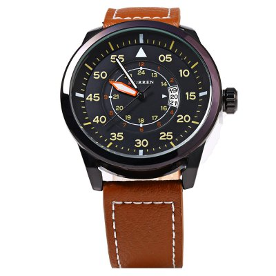Curren 8210 Date Display Men Quartz Watch with Leather Band