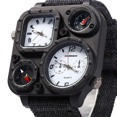 Shiweibao J1169 Compass Dual Movt Male Quartz WatchMens Watches<br>Shiweibao J1169 Compass Dual Movt Male Quartz Watch<br><br>Brand: Shiweibao<br>Watches categories: Male table<br>Watch style: Casual,Trends in outdoor sports<br>Style elements: Big dial<br>Available color: Black,White<br>Movement type: Double-movtz<br>Shape of the dial: Square<br>Display type: Analog<br>Case material: Stainless Steel<br>Band material: Canvas<br>Clasp type: Pin buckle<br>Special features: Compass,Decorating thermometer,Decorating small sub-dials<br>The dial thickness: 1.0 cm / 0.39 inches<br>The dial diameter: 5.0 cm / 1.97 inches<br>The band width: 2.5 cm / 0.98 inches<br>Wearable length: 19.0 - 24.0 cm / 7.48 - 9.45 inches<br>Product weight: 0.093 kg<br>Package weight: 0.123 kg<br>Product size (L x W x H): 26.000 x 5.000 x 1.000 cm / 10.236 x 1.969 x 0.394 inches<br>Package size (L x W x H): 27.000 x 6.000 x 2.000 cm / 10.630 x 2.362 x 0.787 inches<br>Package Contents: 1 x Shiweibao J1169 Watch