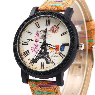 SONSDO 6838 Eiffel Tower Watch Quartz Ladies WristwatchWomens Watches<br>SONSDO 6838 Eiffel Tower Watch Quartz Ladies Wristwatch<br><br>Brand: SONSDO<br>Watches categories: Female table<br>Available color: Brown,Green,Light Brown<br>Style: Fashion&amp;Casual<br>Movement type: Quartz watch<br>Shape of the dial: Round<br>Display type: Analog<br>Case material: Alloy<br>Case color: Black<br>Band material: Leather<br>Clasp type: Pin buckle<br>The dial thickness: 0.7 cm / 0.28 inches<br>The dial diameter: 3.8 cm / 1.50 inches<br>The band width: 1.7 cm / 0.67 inches<br>Wearable length: 17.8 - 22.0 cm / 7.01 - 8.67 inches<br>Product weight: 0.032 kg<br>Package weight: 0.062 kg<br>Product size (L x W x H): 24.00 x 4.00 x 0.70 cm / 9.45 x 1.57 x 0.28 inches<br>Package size (L x W x H): 25.00 x 5.00 x 1.70 cm / 9.84 x 1.97 x 0.67 inches<br>Package Contents: 1 x SONSDO 6838 Female Watch