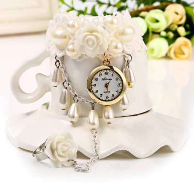 Ailisha Female Ring Bracelet Flower Design Lace Quartz WatchWomens Watches<br>Ailisha Female Ring Bracelet Flower Design Lace Quartz Watch<br><br>Brand: Ailisha<br>Watches categories: Female table<br>Available color: White<br>Style: Fashion&amp;Casual,Bracelet<br>Movement type: Quartz watch<br>Shape of the dial: Round<br>Display type: Analog<br>Case material: Stainless Steel<br>Band material: Stainless Steel<br>Clasp type: Hook buckle<br>The dial thickness: 1.0 cm / 0.39 inch<br>The dial diameter: 2.0 cm / 0.79 inch<br>The band width: 2.5 cm / 0.98 inches<br>Product weight: 0.023 kg<br>Package weight: 0.053 kg<br>Product size (L x W x H): 20.000 x 15.000 x 1.000 cm / 7.874 x 5.906 x 0.394 inches<br>Package size (L x W x H): 10.000 x 10.000 x 2.000 cm / 3.937 x 3.937 x 0.787 inches<br>Package Contents: 1 x Ailisha Watch