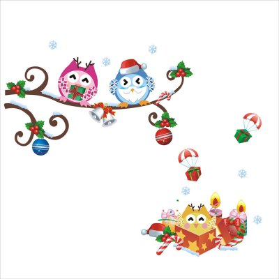 Removable Christmas Owl Tree Branch Design Wall Sticker