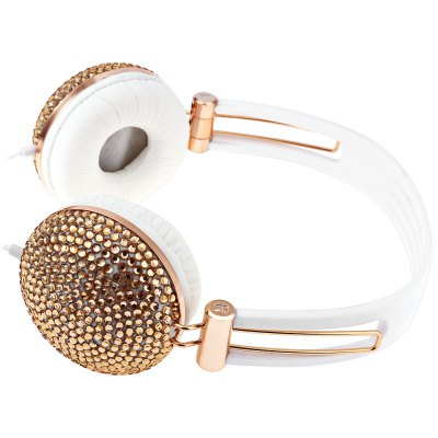 Artificial Crystal Rhinestone Bling Over-ear Headphone with Anti-noise Music Function