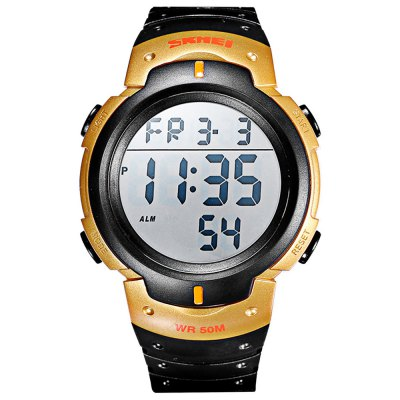 Skmei 1088 Day Date Stopwatch Alarm LED Watch PU BandSports Watches<br>Skmei 1088 Day Date Stopwatch Alarm LED Watch PU Band<br><br>Brand: Skmei<br>People: Male table<br>Watch style: LED,Outdoor Sports<br>Available color: Army green,Black,Blue,Gold,Gray,Green,Red<br>Shape of the dial: Round<br>Movement type: Digital watch<br>Display type: Digital<br>Case material: PC<br>Band material: PU<br>Clasp type: Pin buckle<br>Special features: Alarm Clock,Date,Day,EL Back-light,Stopwatch<br>Water resistance : 50 meters<br>The dial thickness: 1.41 cm / 0.56 inches<br>The dial diameter: 4.66 cm / 1.83 inches<br>The band width: 2.17 cm / 0.85 inches<br>Wearable length: 24.5 cm / 9.65 inches<br>Product weight: 0.055 kg<br>Package weight: 0.085 kg<br>Product size (L x W x H): 28.00 x 4.80 x 1.41 cm / 11.02 x 1.89 x 0.56 inches<br>Package size (L x W x H): 29.00 x 5.80 x 2.41 cm / 11.42 x 2.28 x 0.95 inches<br>Package Contents: 1 x Skmei 1088 Watch