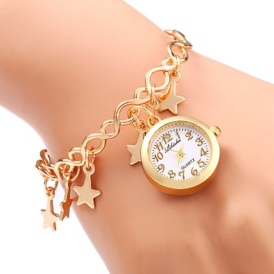 Ailisha Star hollow-out Bracelet Female Quartz WatchWomens Watches<br>Ailisha Star hollow-out Bracelet Female Quartz Watch<br><br>Brand: Ailisha<br>Watches categories: Female table<br>Available color: Gold<br>Style: Bracelet,Fashion&amp;Casual,Hollow Out<br>Movement type: Quartz watch<br>Shape of the dial: Round<br>Display type: Analog<br>Case material: Stainless Steel<br>Band material: Stainless Steel<br>Clasp type: Hook buckle<br>The dial thickness: 0.6 cm / 0.24 inches<br>The dial diameter: 2.3 cm / 0.91 inches<br>The band width: 5.9 cm / 2.32 inches<br>Product weight: 0.019 kg<br>Package weight: 0.049 kg<br>Product size (L x W x H): 5.900 x 5.900 x 0.800 cm / 2.323 x 2.323 x 0.315 inches<br>Package size (L x W x H): 6.900 x 6.900 x 1.800 cm / 2.717 x 2.717 x 0.709 inches<br>Package Contents: 1 x Ailisha Watch