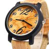 A06 Wood-like Quartz Male Watch Leather Band deal