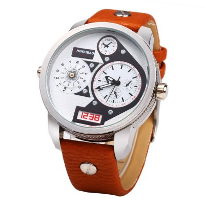 Shiweibao A3135  Leather Band Big Dial Male Quartz Watch