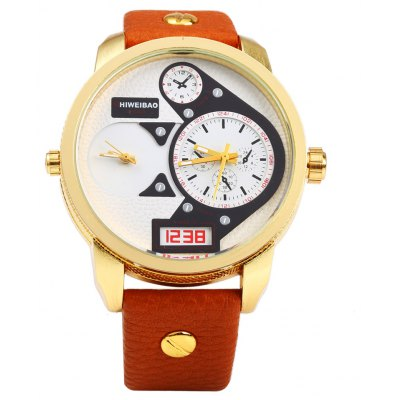 Shiweibao A3135 Leather Band Big Dial Dual Quartz Movt Male Watch
