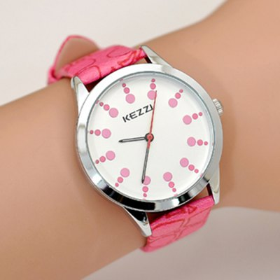 KEZZI K-1118 Lively Dot Scales PU Band Quartz Ladies WatchWomens Watches<br>KEZZI K-1118 Lively Dot Scales PU Band Quartz Ladies Watch<br><br>Brand: Kezzi<br>Watches categories: Female table<br>Available color: Blue,Orange,Pink,Red,Yellow<br>Style: Fashion&amp;Casual<br>Movement type: Quartz watch<br>Shape of the dial: Round<br>Display type: Analog<br>Case material: Stainless Steel<br>Band material: PU<br>Clasp type: Pin buckle<br>The dial thickness: 1.0 cm / 0.39 inches<br>The dial diameter: 3.8 cm / 1.50 inches<br>The band width: 1.8 cm / 0.71 inches<br>Product weight: 0.035 kg<br>Package weight: 0.065 kg<br>Product size (L x W x H): 24.00 x 3.80 x 1.00 cm / 9.45 x 1.50 x 0.39 inches<br>Package size (L x W x H): 25.00 x 4.80 x 2.00 cm / 9.84 x 1.89 x 0.79 inches<br>Package Contents: 1 x Female Watch