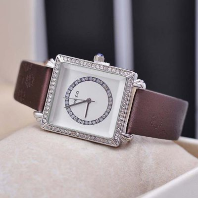 KEZZI Rectangle Diamond Dial Snowflake Quartz Ladies Watch