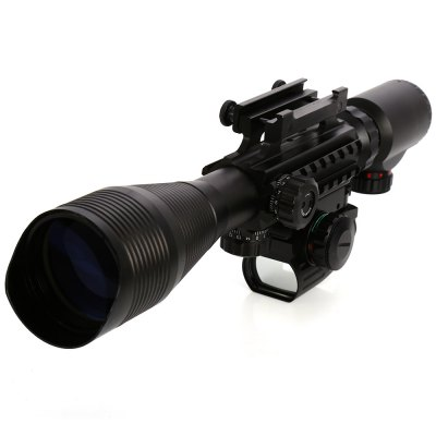 Tactical 4 - 12 x 50EG Illuminated Rifle Scope with Red Laser and Red Dot Sight of Red / Green Reticle Mount