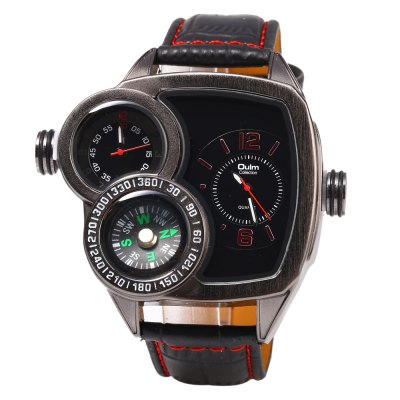 Oulm 3670 Double Quartz Leather Band Compass Male WatchMens Watches<br>Oulm 3670 Double Quartz Leather Band Compass Male Watch<br><br>Brand: Oulm<br>Watches categories: Male table<br>Watch style: Fashion<br>Style elements: Big dial<br>Available color: Black,Blue,Deep Brown,Red,White<br>Movement type: Quartz watch<br>Shape of the dial: Rectangle<br>Display type: Analog<br>Case material: Stainless Steel<br>Band material: Leather<br>Clasp type: Pin buckle<br>Special features: Compass<br>The dial thickness: 1.3 cm / 0.51 inches<br>The dial diameter: 5.5 cm / 2.17 inches<br>The band width: 2.3 cm / 0.91 inches<br>Wearable length: 19.3 - 25 cm / 7.60 - 9.84 inches<br>Product weight: 0.110KG<br>Package weight: 0.140 KG<br>Product size (L x W x H): 27.50 x 6.50 x 1.30 cm / 10.83 x 2.56 x 0.51 inches<br>Package size (L x W x H): 28.50 x 7.50 x 2.30 cm / 11.22 x 2.95 x 0.91 inches<br>Package Contents: 1 x Oulm Watch