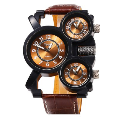 Oulm 1167 3-Movt Black Dial Case Leather Strap Male WatchMens Watches<br>Oulm 1167 3-Movt Black Dial Case Leather Strap Male Watch<br><br>Brand: Oulm<br>Watches categories: Male table<br>Watch style: Fashion<br>Style elements: Big dial<br>Available color: Black,Brown,White<br>Movement type: Quartz watch<br>Shape of the dial: Round<br>Display type: Analog<br>Case material: Stainless Steel<br>Band material: Leather<br>Clasp type: Pin buckle<br>Special features: Working sub-dial<br>The dial thickness: 1.2 cm / 0.47 inches<br>The dial diameter: 4.9 cm / 1.93 inches<br>The band width: 2.3 cm / 0.91 inches<br>Wearable length: 19.6 - 25.5 cm / 7.72 - 10.04 inches<br>Product weight: 0.091KG<br>Package weight: 0.121 KG<br>Product size (L x W x H): 28.00 x 5.20 x 1.20 cm / 11.02 x 2.05 x 0.47 inches<br>Package size (L x W x H): 29.00 x 6.20 x 2.20 cm / 11.42 x 2.44 x 0.87 inches<br>Package Contents: 1 x Oulm Watch