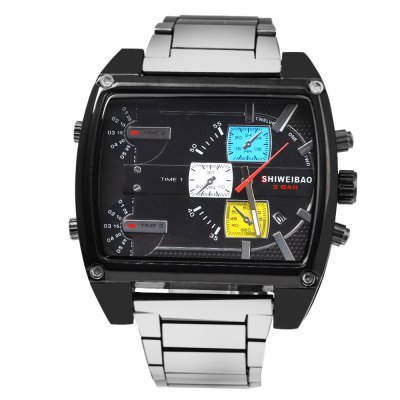 Shiweibao 4143 Male 3-movt Quartz Watch with Date FunctionMens Watches<br>Shiweibao 4143 Male 3-movt Quartz Watch with Date Function<br><br>Brand: Shiweibao<br>Watches categories: Male table<br>Watch style: Business,Fashion<br>Style elements: Big dial,Stainless Steel<br>Available color: Black,Deep Brown,White,Yellow<br>Movement type: Quartz watch<br>Shape of the dial: Rectangle<br>Display type: Analog<br>Case material: Stainless Steel<br>Band material: Stainless Steel<br>Clasp type: Folding clasp with safety<br>Special features: Date,Decorating small sub-dials,Working sub-dial<br>Water resistance : 30 meters<br>The dial thickness: 1.7 cm / 0.67 inches<br>The dial diameter: 5.0 cm / 1.97 inches<br>The band width: 2.5 cm / 0.98 inches<br>Wearable length: 22 cm / 8.66 inches<br>Product weight: 0.130 kg<br>Package weight: 0.160 kg<br>Product size (L x W x H): 11.00 x 5.50 x 1.70 cm / 4.33 x 2.17 x 0.67 inches<br>Package size (L x W x H): 12.00 x 6.50 x 2.70 cm / 4.72 x 2.56 x 1.06 inches<br>Package Contents: 1 x Shiweibao Watch