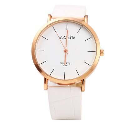 WoMaGe 408 Female Quartz Watch with Bamboo Joint Leather Band