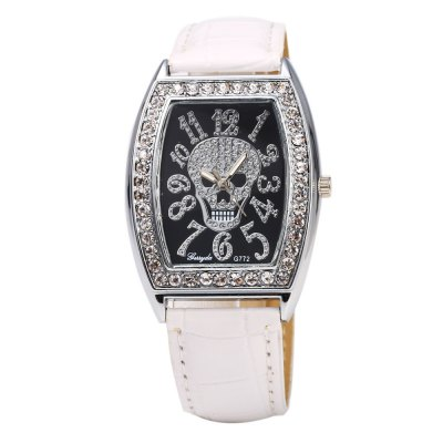 Gerryda 772 Skull Pattern Diamond Women Quartz WatchWomens Watches<br>Gerryda 772 Skull Pattern Diamond Women Quartz Watch<br><br>Brand: Gerryda<br>Watches categories: Female table<br>Available color: Black,White<br>Style: Diamond,Fashion&amp;Casual<br>Movement type: Quartz watch<br>Shape of the dial: Round<br>Display type: Analog<br>Case material: Stainless Steel<br>Band material: Leather<br>Clasp type: Pin buckle<br>The dial thickness: 0.7 cm / 0.28 inches<br>The dial diameter: 3.3 cm / 1.30 inches<br>The band width: 2.0 cm / 0.79 inches<br>Wearable length: 17 - 20.5 cm / 6.69 - 8.07 inches<br>Product weight: 0.075KG<br>Package weight: 0.105 KG<br>Product size (L x W x H): 24.00 x 3.30 x 0.70 cm / 9.45 x 1.3 x 0.28 inches<br>Package size (L x W x H): 25.00 x 4.30 x 1.70 cm / 9.84 x 1.69 x 0.67 inches<br>Package Contents: 1 x Gerryda 772 Watch