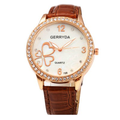 Gerryda 798 Glossy Leather Band Diamond Women Quartz WatchWomens Watches<br>Gerryda 798 Glossy Leather Band Diamond Women Quartz Watch<br><br>Brand: Gerryda<br>Watches categories: Female table<br>Available color: Black,Brown,Plum,White<br>Style: Diamond,Fashion&amp;Casual<br>Movement type: Quartz watch<br>Shape of the dial: Round<br>Display type: Analog<br>Case material: Stainless Steel<br>Band material: Leather<br>Clasp type: Pin buckle<br>The dial thickness: 0.8 cm / 0.3 inches<br>The dial diameter: 4.0 cm / 1.5 inches<br>The band width: 1.6 cm / 0.6 inches<br>Wearable length: 17 - 20.5 cm / 6.69 - 8.07 inches<br>Product weight: 0.033 kg<br>Package weight: 0.063 kg<br>Product size (L x W x H): 24.00 x 4.00 x 0.80 cm / 9.45 x 1.57 x 0.31 inches<br>Package size (L x W x H): 25.00 x 5.00 x 1.80 cm / 9.84 x 1.97 x 0.71 inches<br>Package Contents: 1 x Gerryda 798 Watch