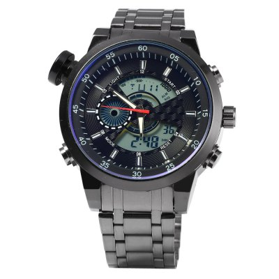931B Multifunctional Dual Movt Male LED Sports WatchSports Watches<br>931B Multifunctional Dual Movt Male LED Sports Watch<br><br>People: Male table<br>Watch style: LED,Outdoor Sports<br>Available color: Black,Blue,Gold,Red,White<br>Shape of the dial: Round<br>Movement type: Double-movtz<br>Display type: Analog-Digital<br>Hour formats: 12/24 Hour<br>Case material: Stainless Steel<br>Band material: Stainless Steel<br>Clasp type: Folding clasp with safety<br>Special features: Alarm Clock,Date,Day,EL Back-light,Stopwatch<br>Water resistance : 30 meters<br>The dial thickness: 1.5 cm / 0.59 inches<br>The dial diameter: 5.0 cm / 1.97 inches<br>The band width: 2.2 cm / 0.86 inches<br>Product weight: 0.162KG<br>Package weight: 0.192 KG<br>Product size (L x W x H): 23.00 x 5.00 x 1.50 cm / 9.06 x 1.97 x 0.59 inches<br>Package size (L x W x H): 24.00 x 6.00 x 2.50 cm / 9.45 x 2.36 x 0.98 inches<br>Package Contents: 1 x 931B Watch