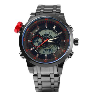 931B Multifunctional Dual Movt Male LED Sports WatchSports Watches<br>931B Multifunctional Dual Movt Male LED Sports Watch<br><br>People: Male table<br>Watch style: LED,Outdoor Sports<br>Available color: Black,Blue,Gold,Red,White<br>Shape of the dial: Round<br>Movement type: Double-movtz<br>Display type: Analog-Digital<br>Hour formats: 12/24 Hour<br>Case material: Stainless Steel<br>Band material: Stainless Steel<br>Clasp type: Folding clasp with safety<br>Special features: Alarm Clock,Date,Day,EL Back-light,Stopwatch<br>Water resistance : 30 meters<br>The dial thickness: 1.5 cm / 0.59 inches<br>The dial diameter: 5.0 cm / 1.97 inches<br>The band width: 2.2 cm / 0.86 inches<br>Product weight: 0.162 kg<br>Package weight: 0.192 kg<br>Product size (L x W x H): 23.00 x 5.00 x 1.50 cm / 9.06 x 1.97 x 0.59 inches<br>Package size (L x W x H): 24.00 x 6.00 x 2.50 cm / 9.45 x 2.36 x 0.98 inches<br>Package Contents: 1 x 931B Watch